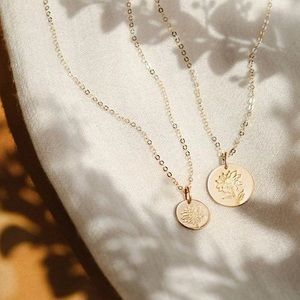 Sunflower Engraved Cute Floral Minimalist Necklace